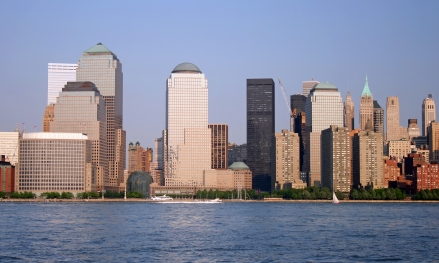 The Lower Manhattan Skyline at Sunset, New York City